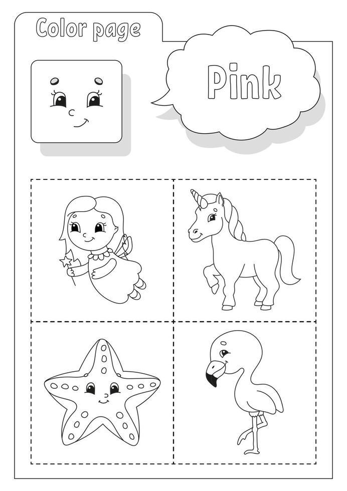 kleurboek roze. kleuren leren. flashcard voor kinderen. stripfiguren. foto set voor kleuters. onderwijs werkblad. vector illustratie.