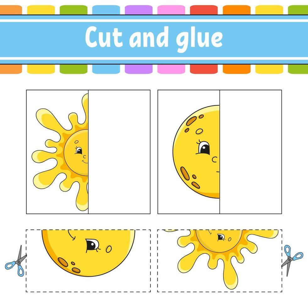 knippen en spelen. papieren spel met lijm. flash-kaarten. onderwijs werkblad. activiteitenpagina. grappig karakter. geïsoleerde vectorillustratie. cartoon stijl. vector