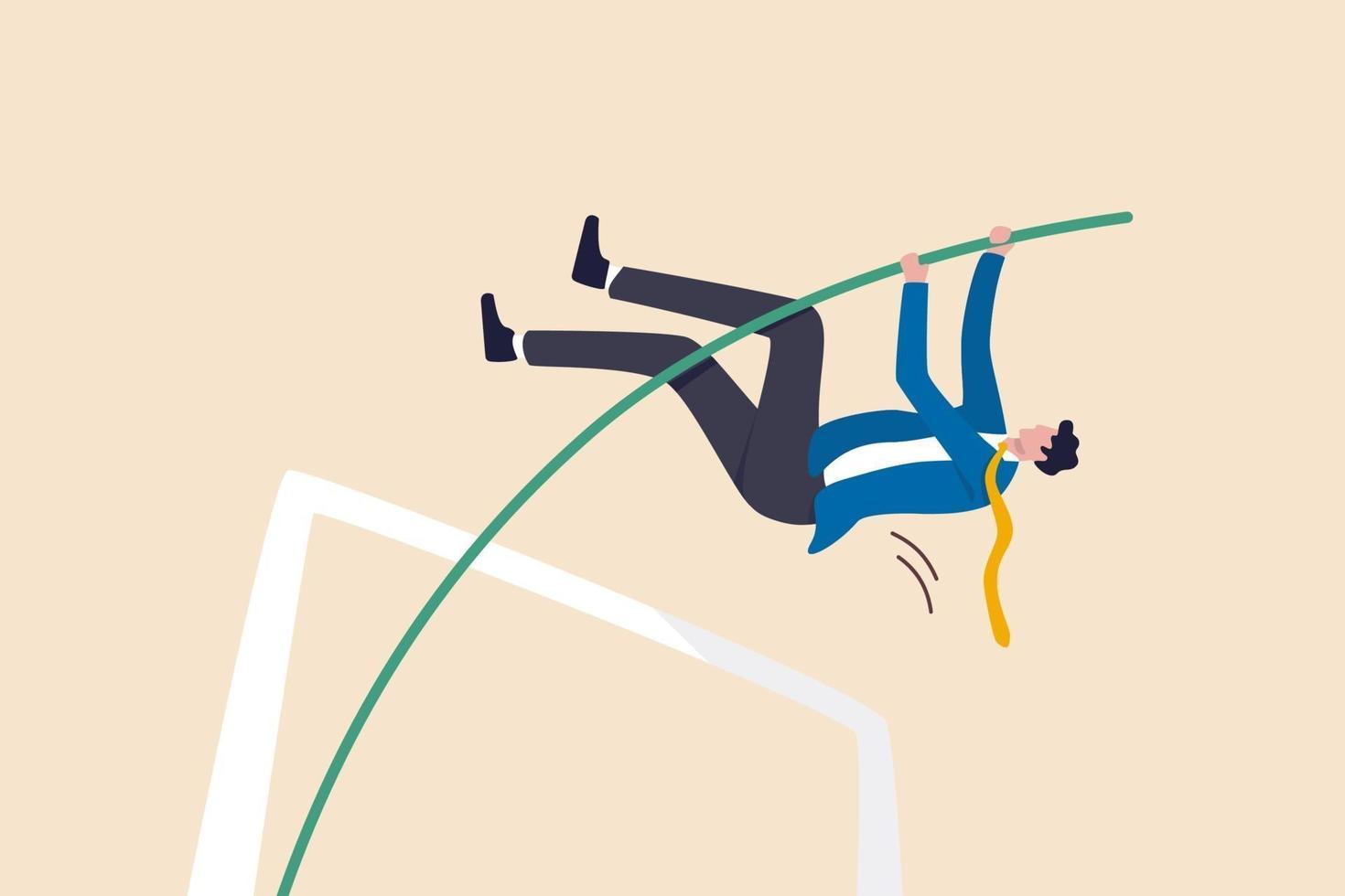 zakelijk doel behalen, succes oplossen van bedrijfsproblemen of slagen, overleven op financieel crisisconcept, succesvolle zelfverzekerde zakenmanleider springen polsstokhoogspringen. vector