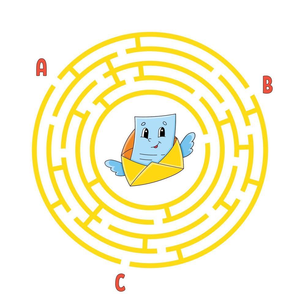 cirkel doolhof. spel voor kinderen. puzzel voor kinderen. rond labyrint raadsel. kleur vectorillustratie. vind het juiste pad. onderwijs werkblad. vector