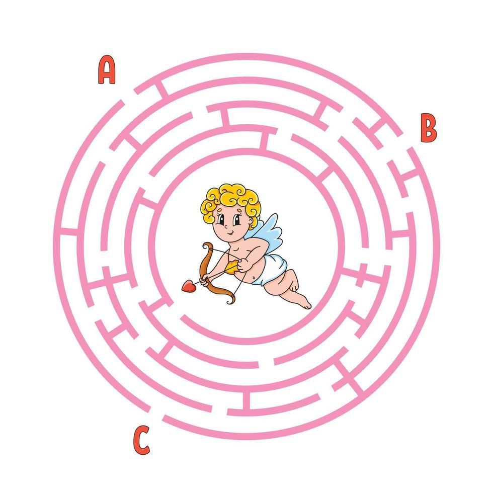 cirkel doolhof cupido. spel voor kinderen. puzzel voor kinderen. rond labyrint raadsel. kleur vectorillustratie. vind het juiste pad. onderwijs werkblad. vector