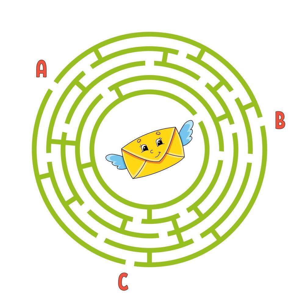 cirkel doolhof envelop. spel voor kinderen. puzzel voor kinderen. rond labyrint raadsel. kleur vectorillustratie. vind het juiste pad. onderwijs werkblad. vector