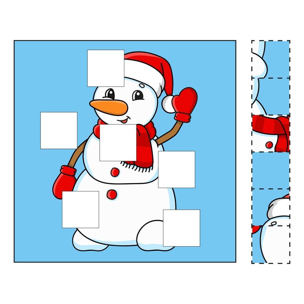 puzzelspel voor kinderen sneeuwpop. Knip en plak. snijden praktijk. vormen leren. onderwijs werkblad. winter thema. activiteitenpagina. stripfiguur. vector