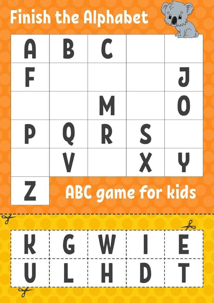 maak het alfabet af. abc-spel voor kinderen. knip en lijm. onderwijs ontwikkelend werkblad. leerspel voor kinderen. kleur activiteitenpagina. vector