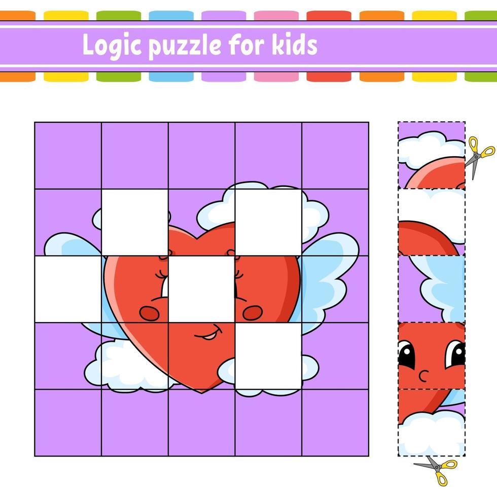logische puzzel voor kinderen met een hart. onderwijs ontwikkelend werkblad. leerspel voor kinderen. activiteitenpagina. eenvoudige vlakke geïsoleerde vectorillustratie in leuke cartoonstijl. vector