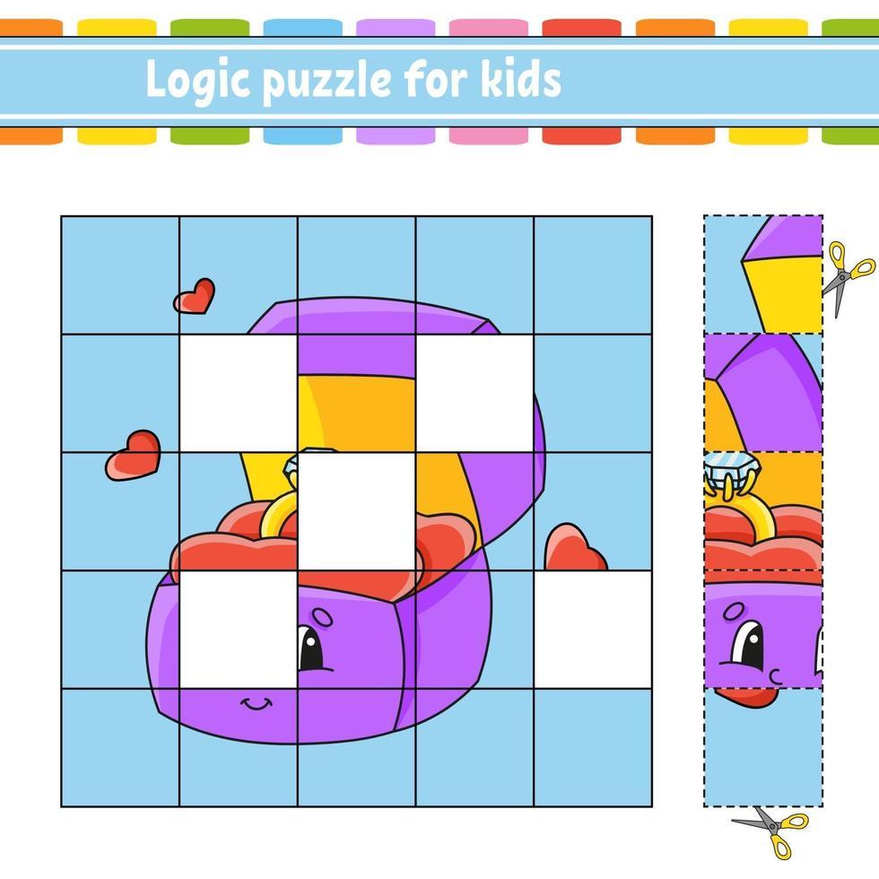 logische puzzel voor kinderen met ringdoos. onderwijs ontwikkelend werkblad. leerspel voor kinderen. activiteitenpagina. eenvoudige vlakke geïsoleerde vectorillustratie in leuke cartoonstijl. vector