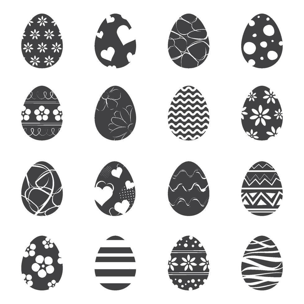 paaseieren pictogram geïsoleerde achtergrond. set van modern nieuw design met verschillende patronen. vector