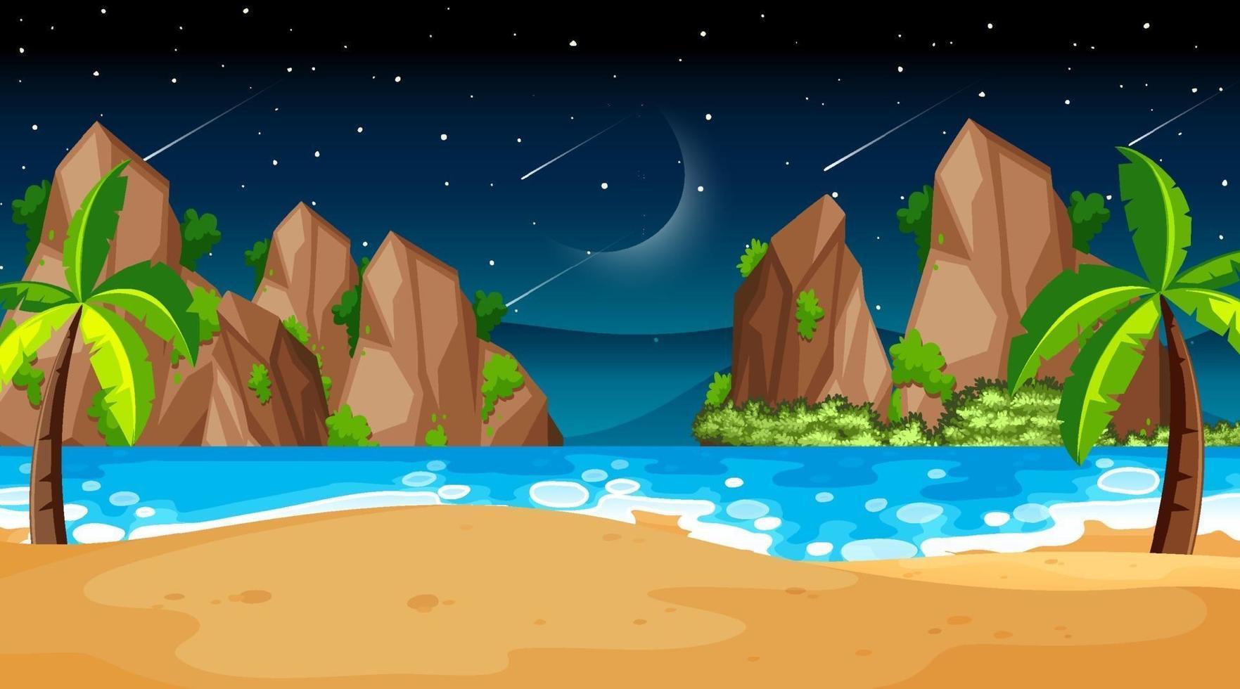 tropische strandlandschapsscène bij nacht vector