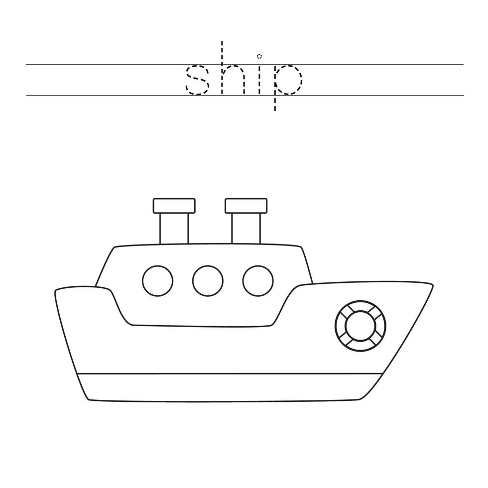 letters traceren met zeeschip. Schrijf oefening. vector