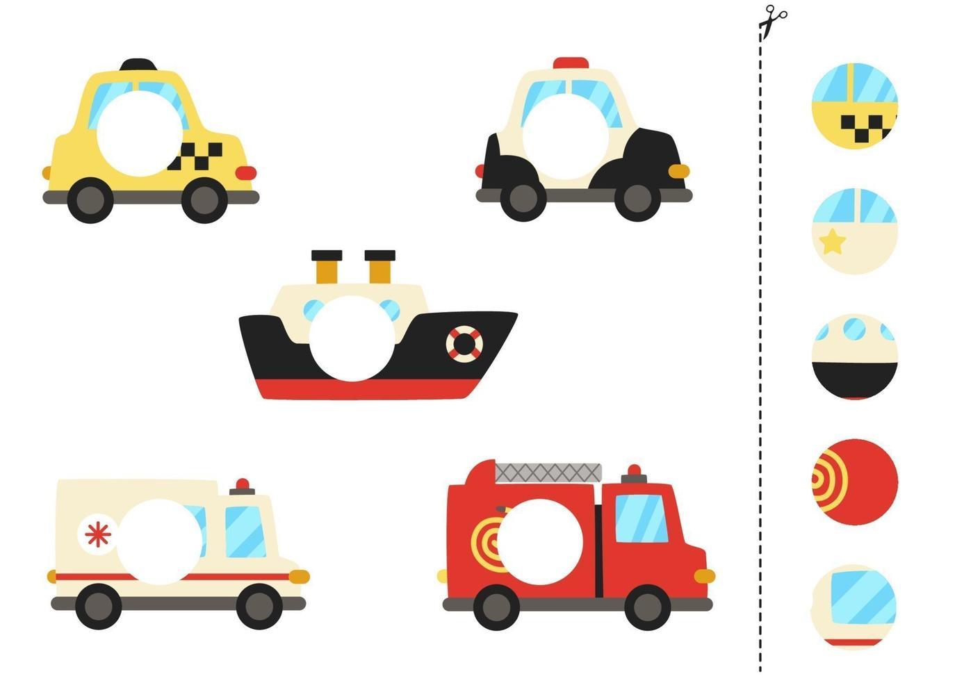 snijd en lijm delen van cartoon transportmiddelen. vector