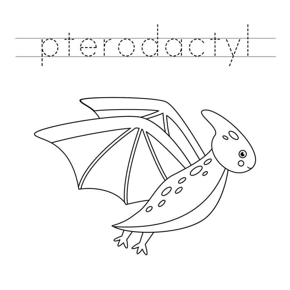 letters traceren met schattige dinosaurussen. Schrijf oefening. vector