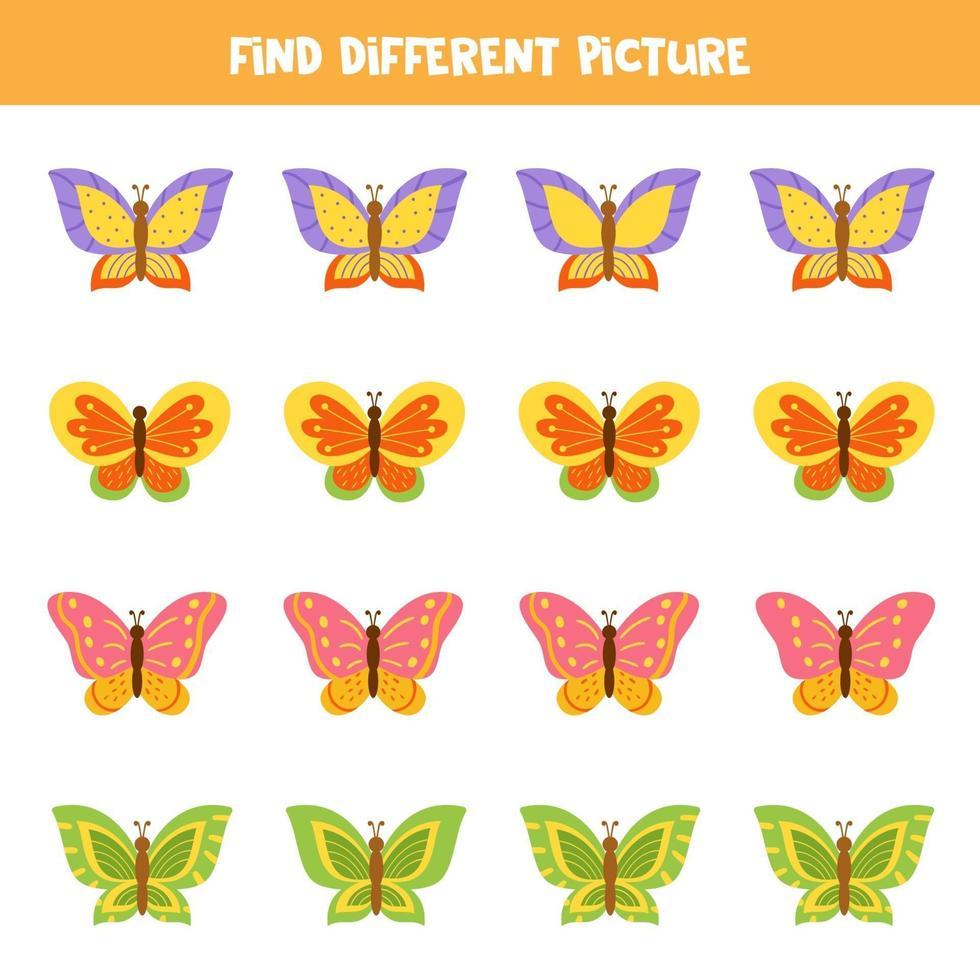 vind vlinder die anders is dan anderen. werkblad voor kinderen. vector