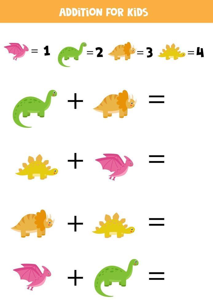 toevoeging voor kinderen met schattige cartoon dinosaurussen. vector