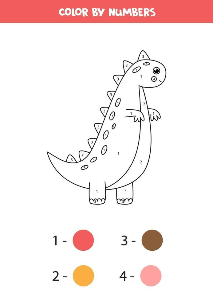 kleur schattige cartoon dinosaurus op nummer. spel tellen. vector