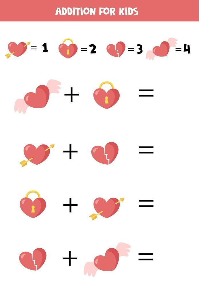 toevoeging voor kinderen met schattige valentijn harten. vector
