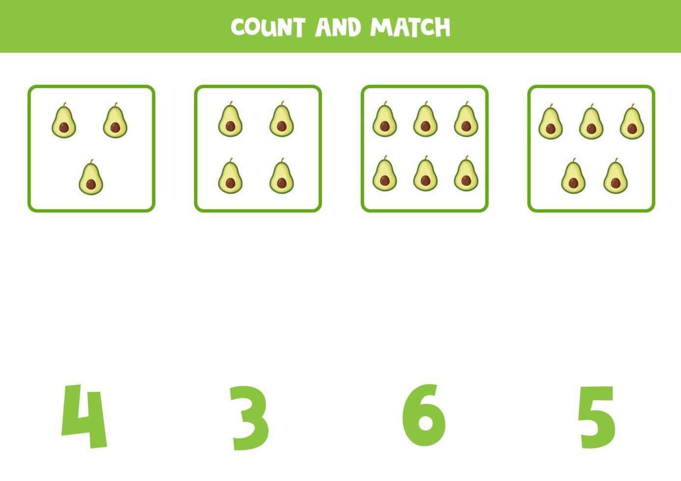 tellen spel voor kinderen. wiskunde spel met cartoon avocado's. vector