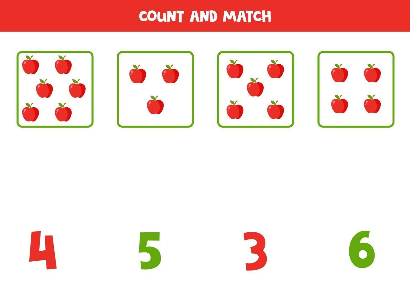 tellen spel voor kinderen. wiskundig spel met cartoon appels. vector