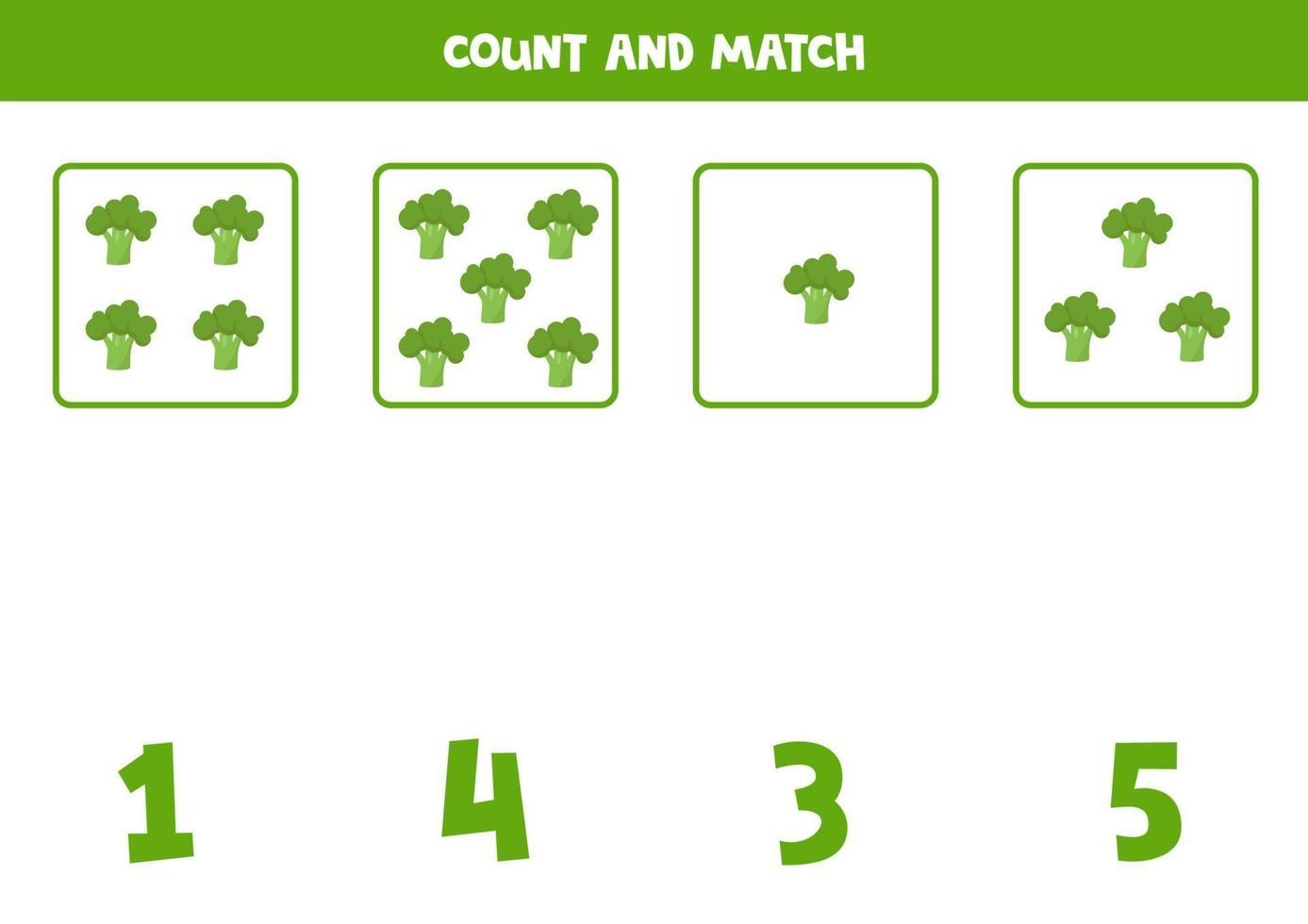tellen spel voor kinderen. wiskundig spel met cartoon broccolis. vector