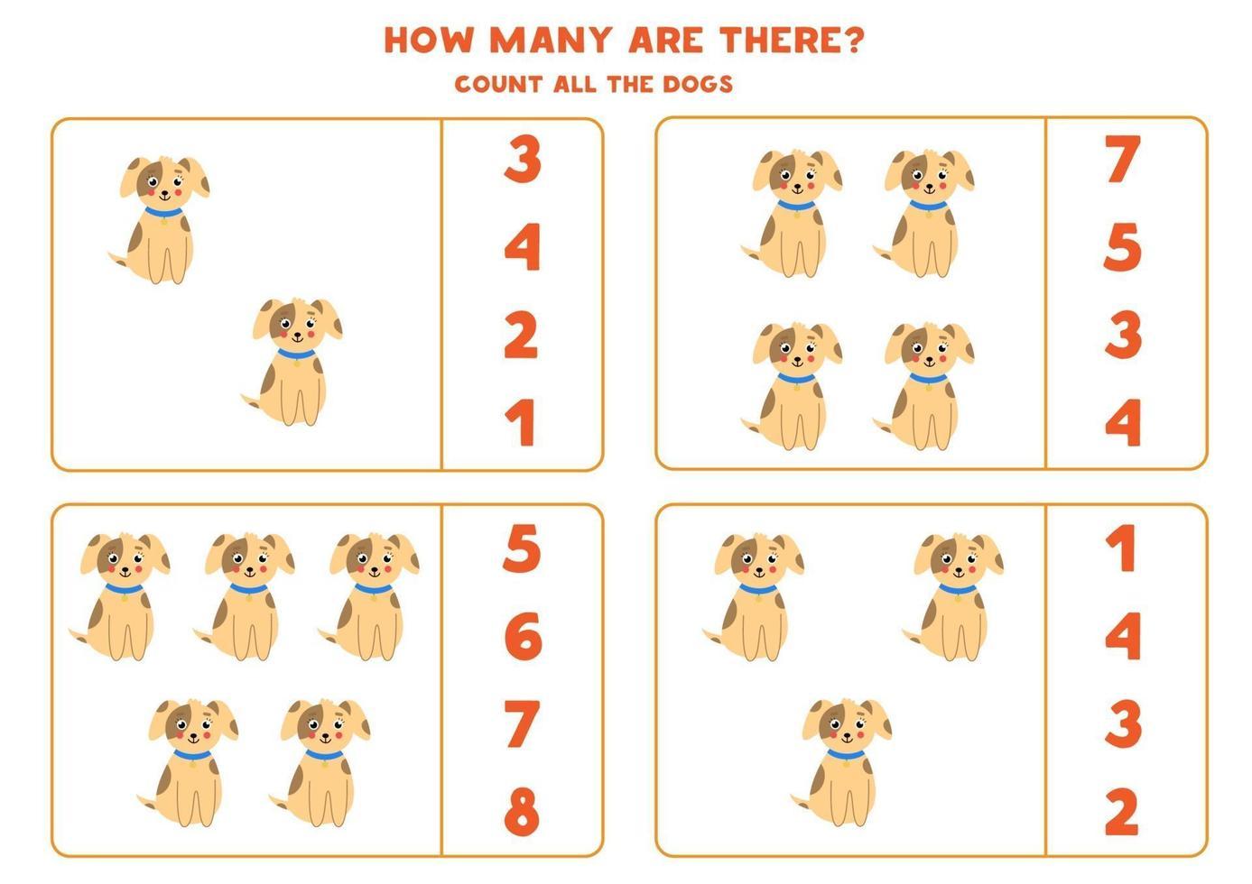rekenspel met schattige honden tellen. vector