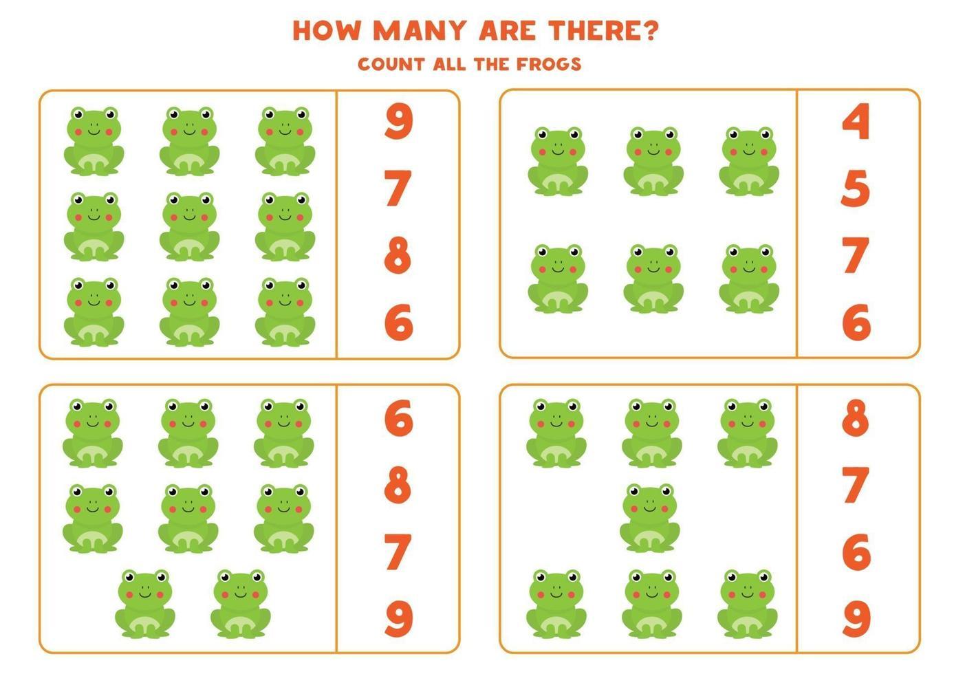 tellen wiskundespel met schattige cartoon kikkers. vector