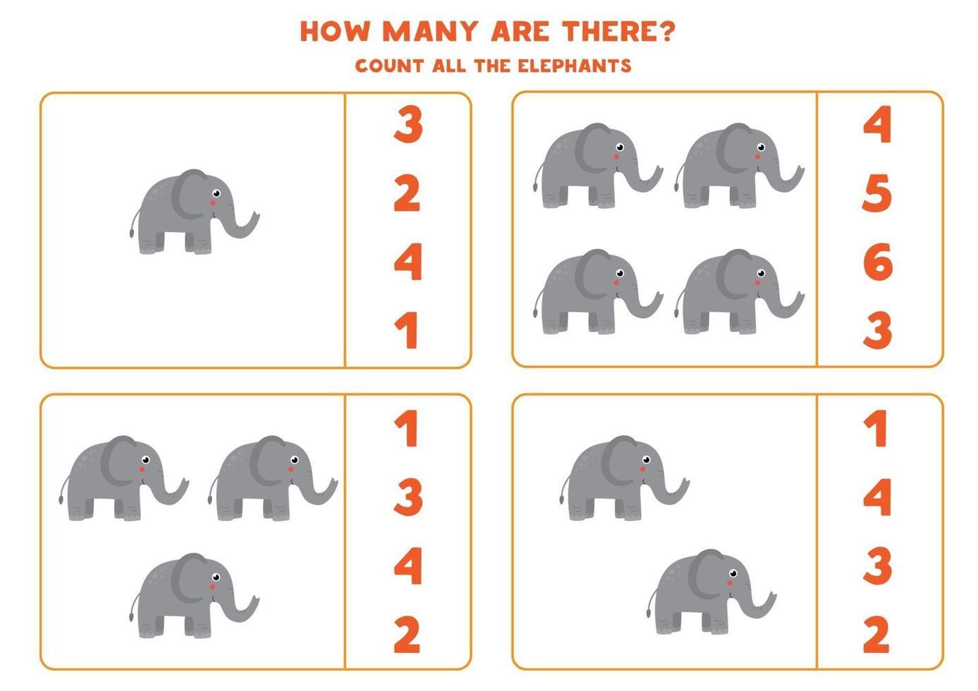 rekenspel met schattige cartoonolifanten tellen. vector