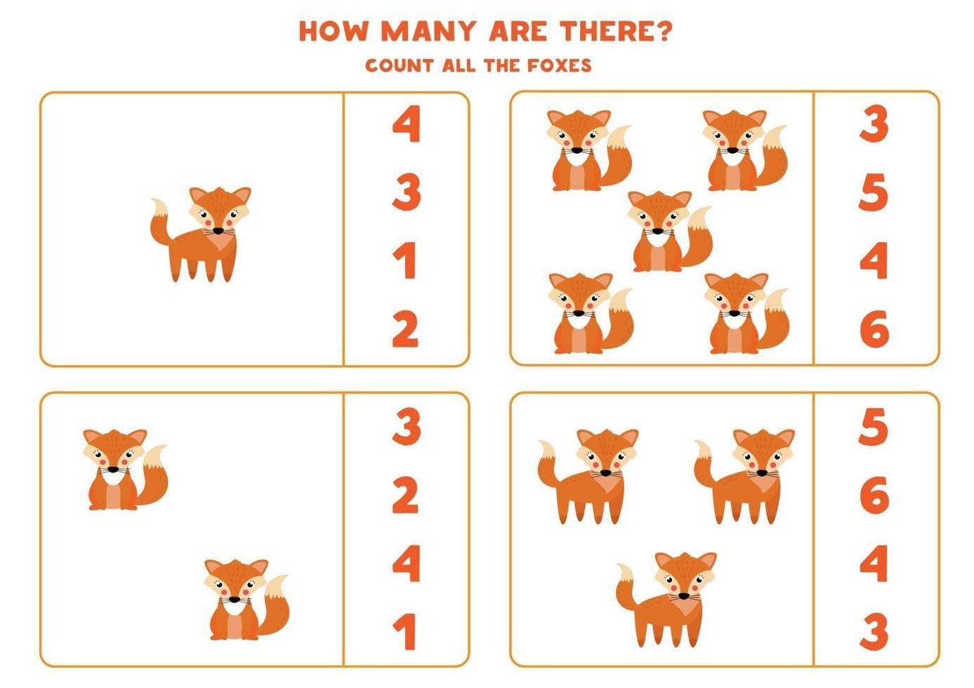 tellen wiskundespel met schattige cartoon vossen. vector
