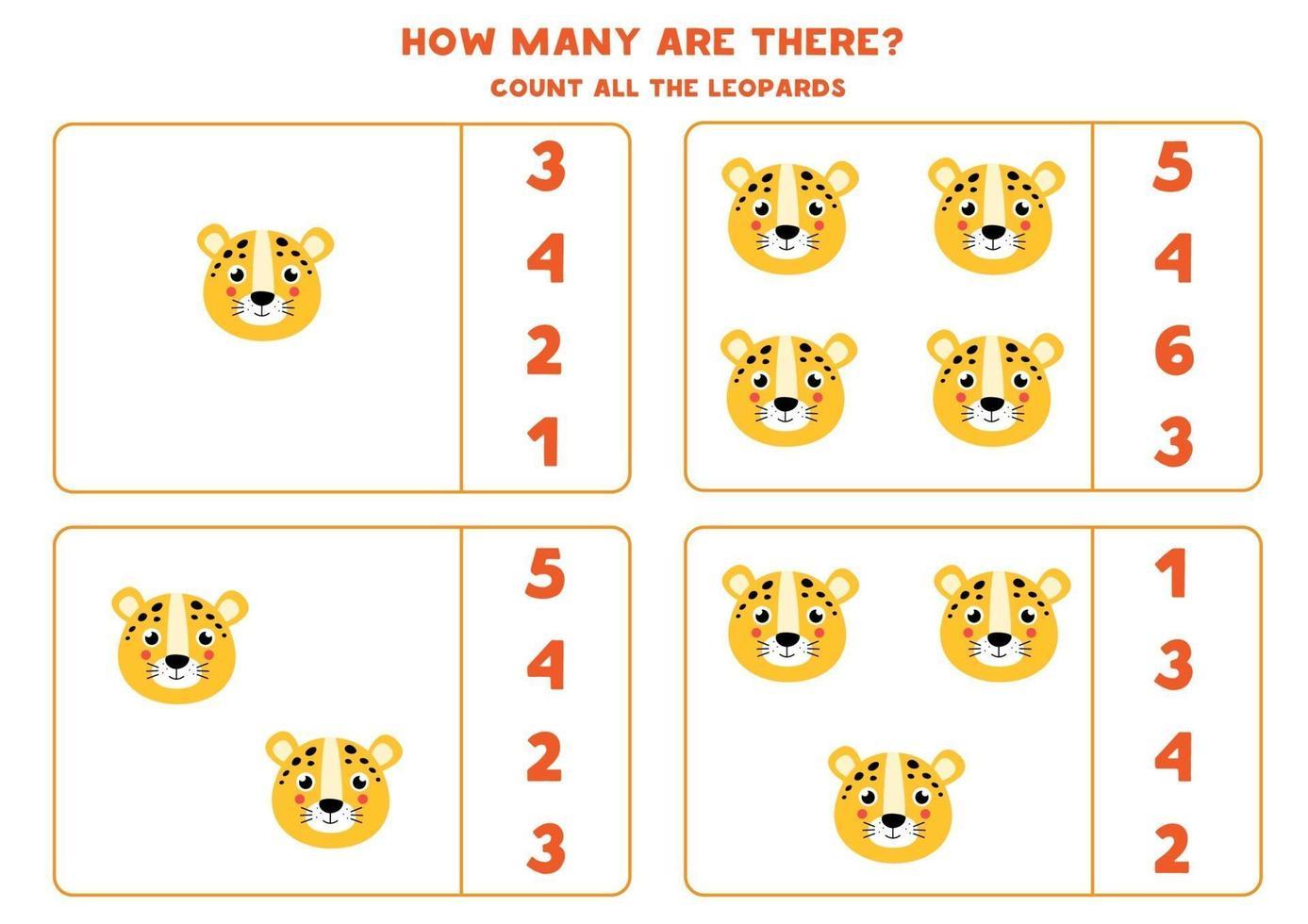tellen spel voor kinderen. wiskunde spel met cartoon luipaard gezichten. vector