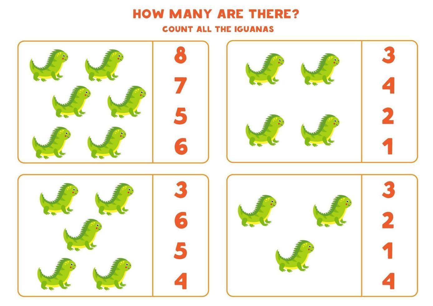 tellen wiskundegame met schattige cartoonleguanen. vector