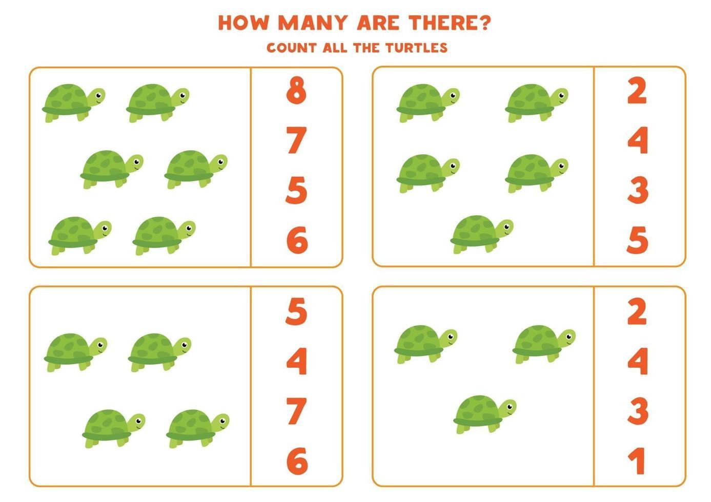 tellen wiskundespel met schattige cartoon schildpadden. vector