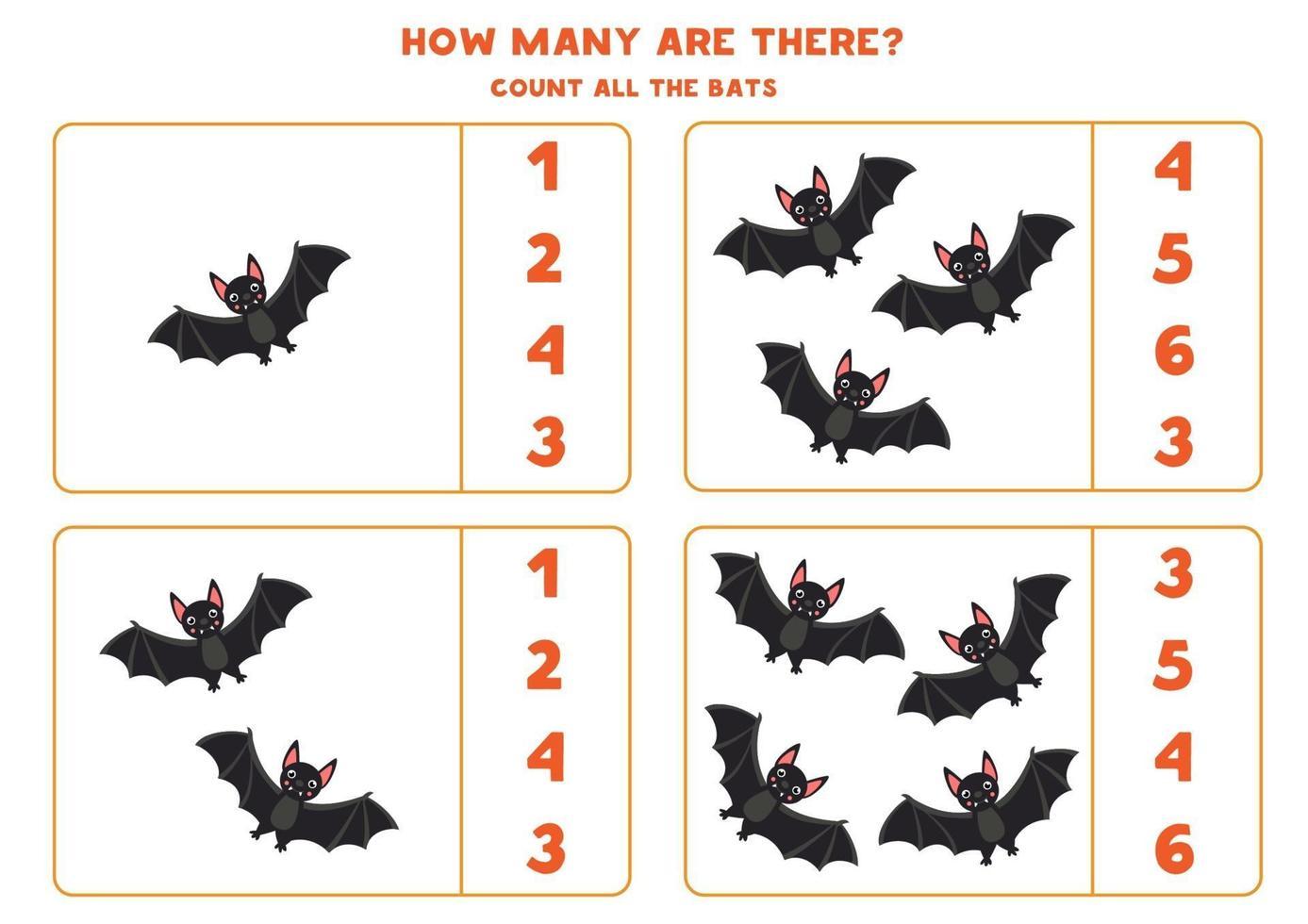 tellen spel met zwarte vleermuizen. wiskunde werkblad voor kinderen. vector