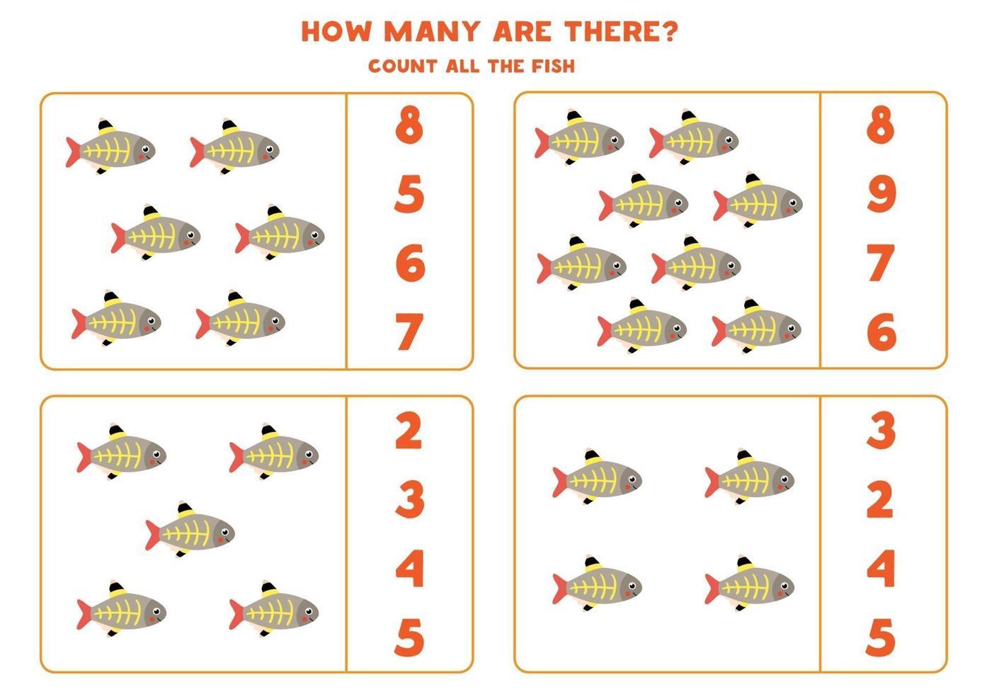 tellen wiskundespel met schattige cartoon x-ray vis. vector