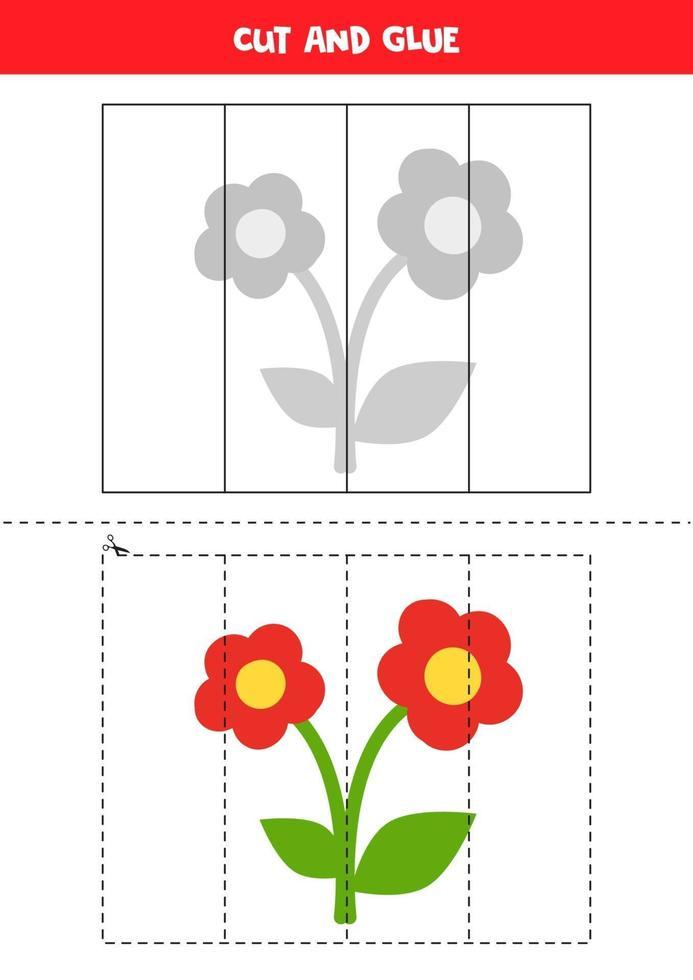 knipoefening voor peuters. knip en lijm schattige bloem. vector