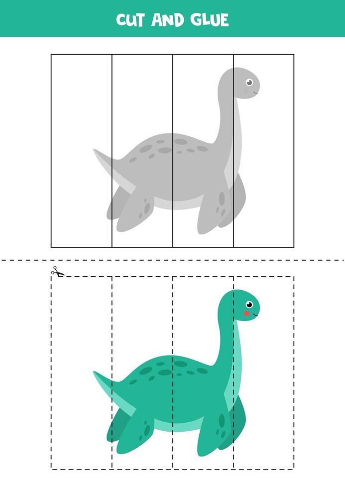 knip en lijm spel voor kinderen. schattige cartoon dinosaurus. vector