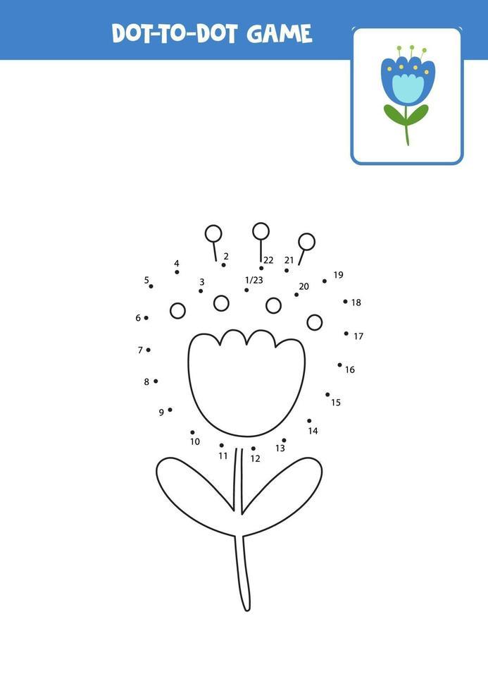 verbind het stippen-spel met blauwe bloem. vector