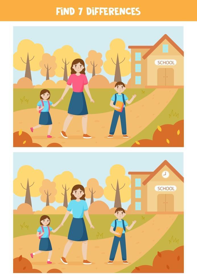 educatief logisch spel voor kinderen. vind 7 verschillen. terug naar school. vector