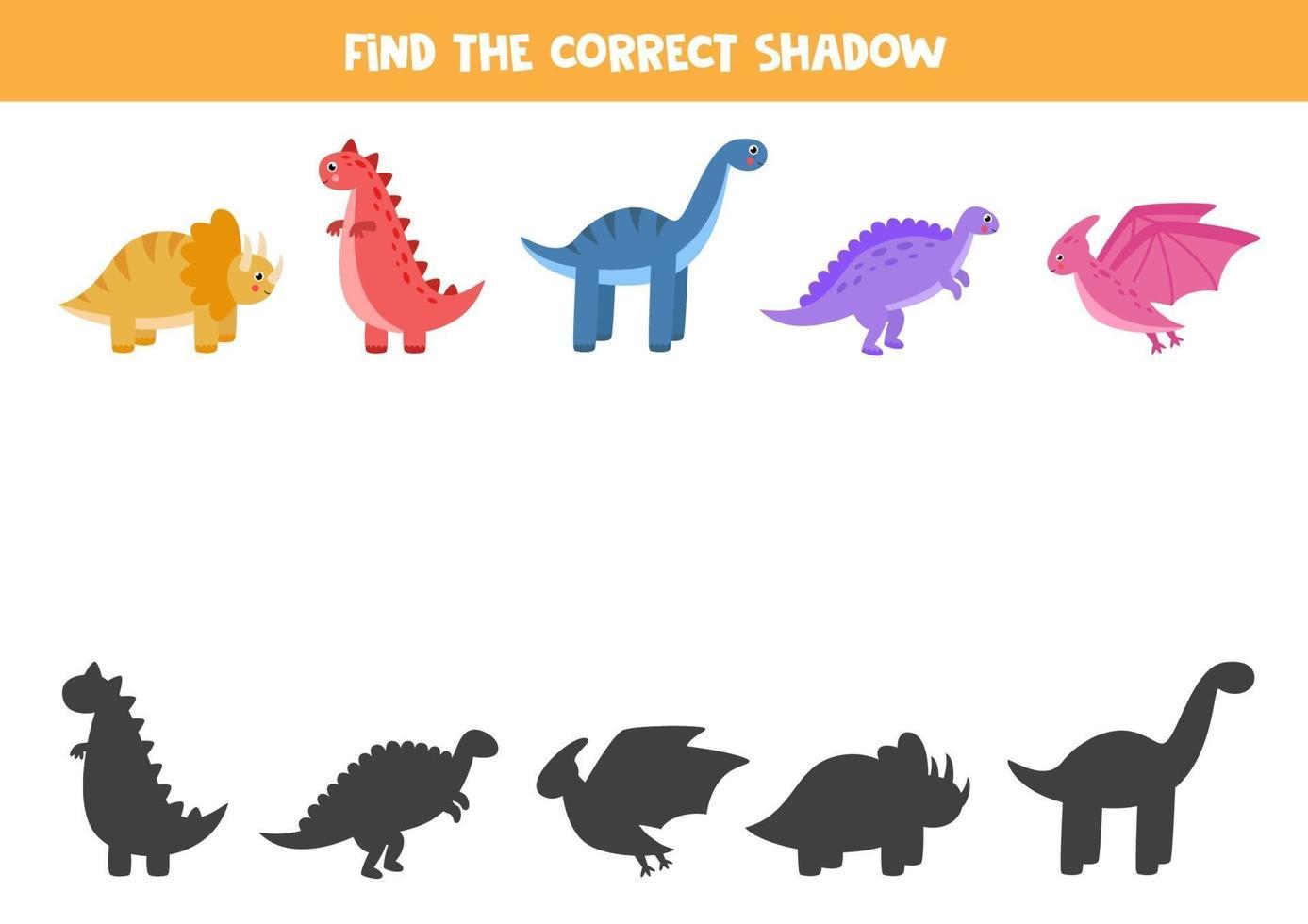 vind de juiste schaduwen van dinosaurussen. logische puzzel voor kinderen. vector