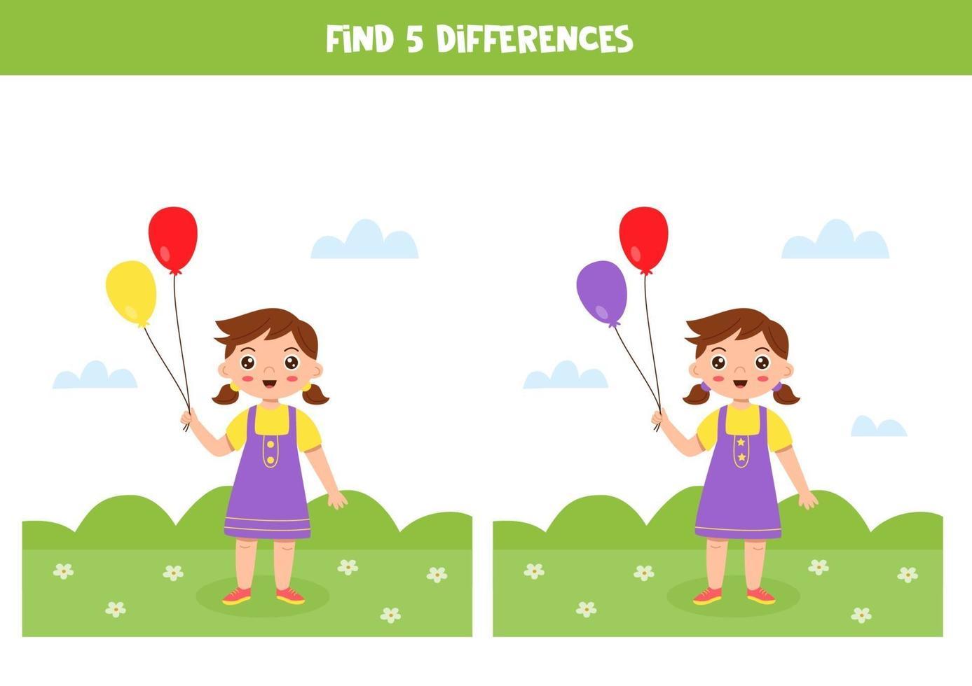 educatief logisch spel voor kinderen. vind 5 verschillen. meisje met ballonnen. vector