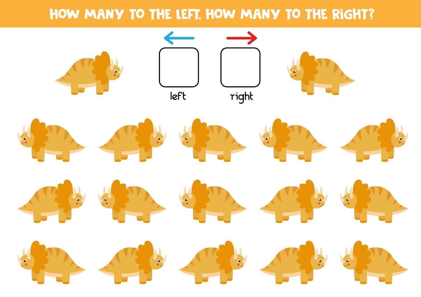 links of rechts met schattige dinosaurus. logisch werkblad voor kleuters. vector