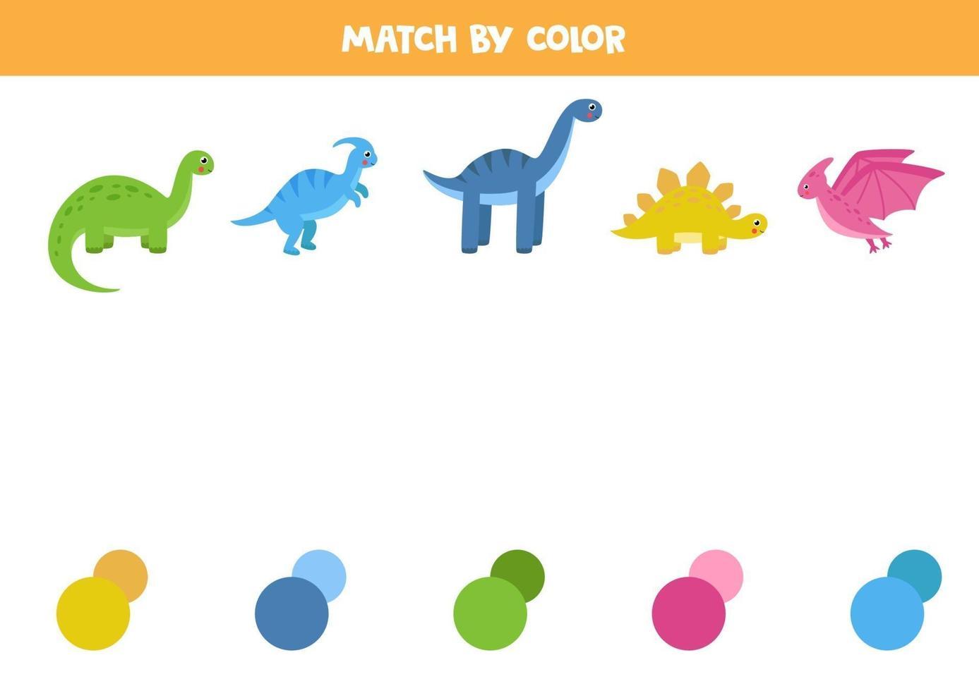 matching game met dinosaurussen. maak verbinding met de juiste kleurenpaletten. vector
