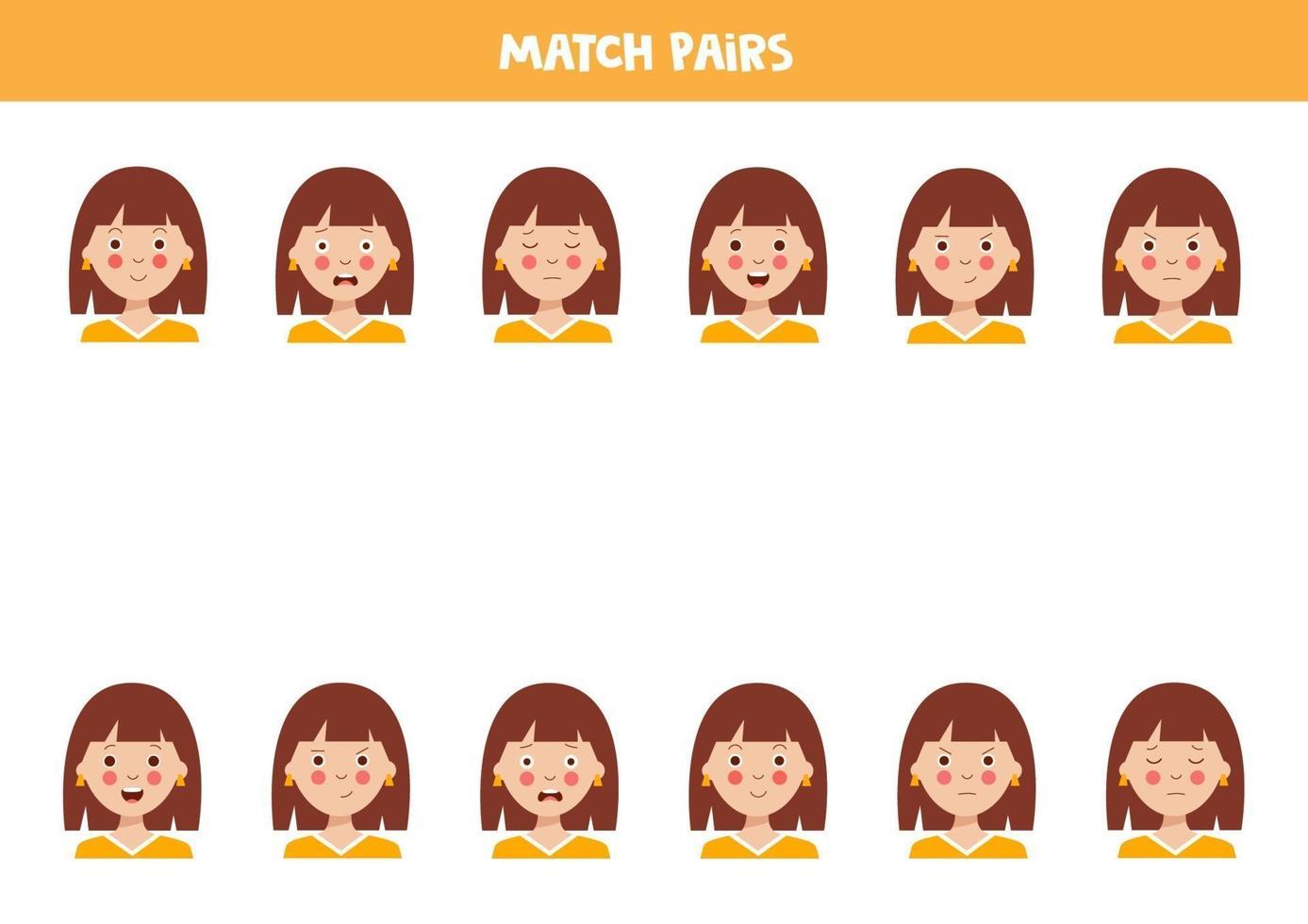 bijpassende paren van schattige meisjes. educatief werkblad. vector