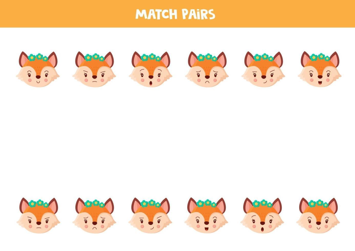 bijpassende paar schattige vossen. educatief werkblad. vector