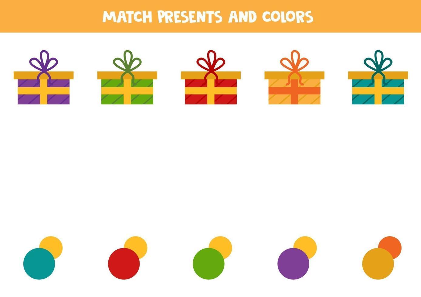 bijpassende kerstcadeautjes met kleuren. logisch werkblad. vector