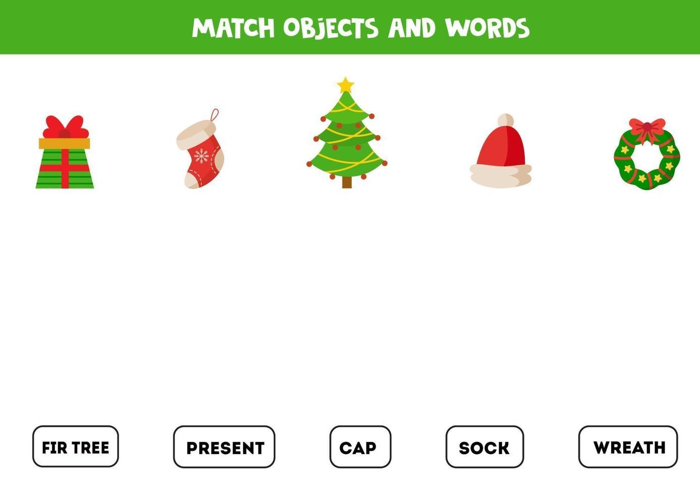 bijpassende game. verbind woorden met plaatjes. logisch spel met kerstthema. vector