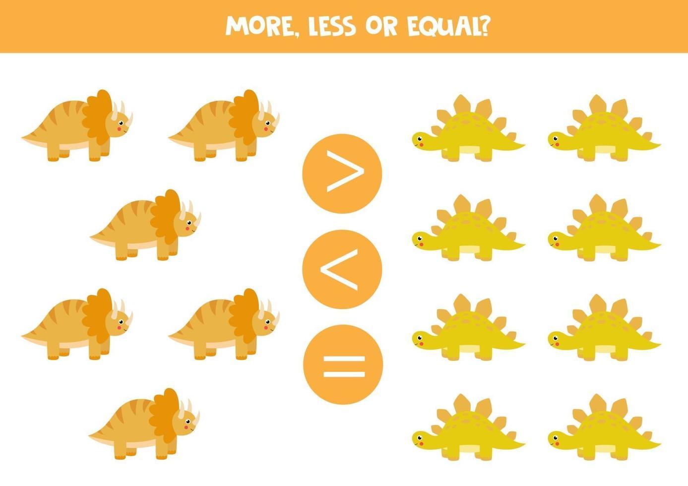 meer, minder, gelijk aan schattige dinosaurussen. wiskunde spel. vector