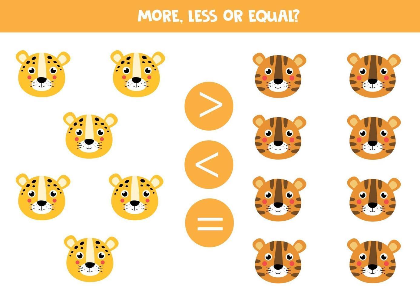 meer, minder, gelijk aan schattige cartoon tijger en luipaard. vector