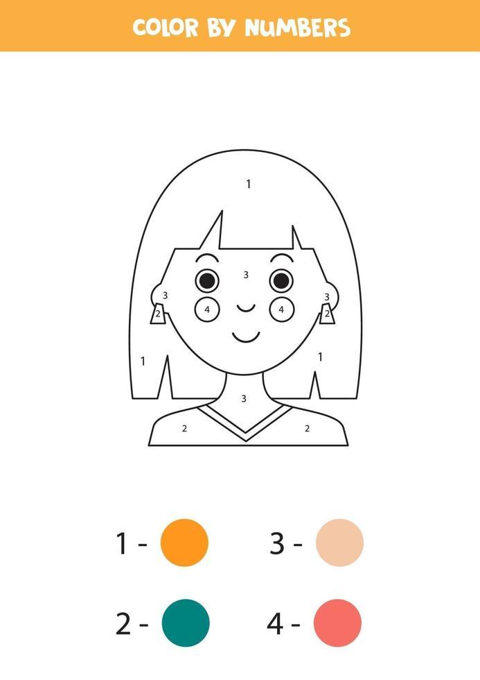 kleur cartoon meisje op nummer. educatief spel. vector