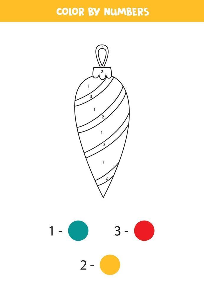 wiskunde werkblad voor kinderen. kleur kerstbal op nummer. vector