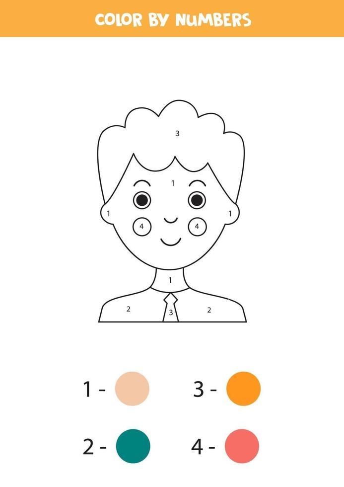 kleur schattige jongen op nummer. wiskunde spel. vector