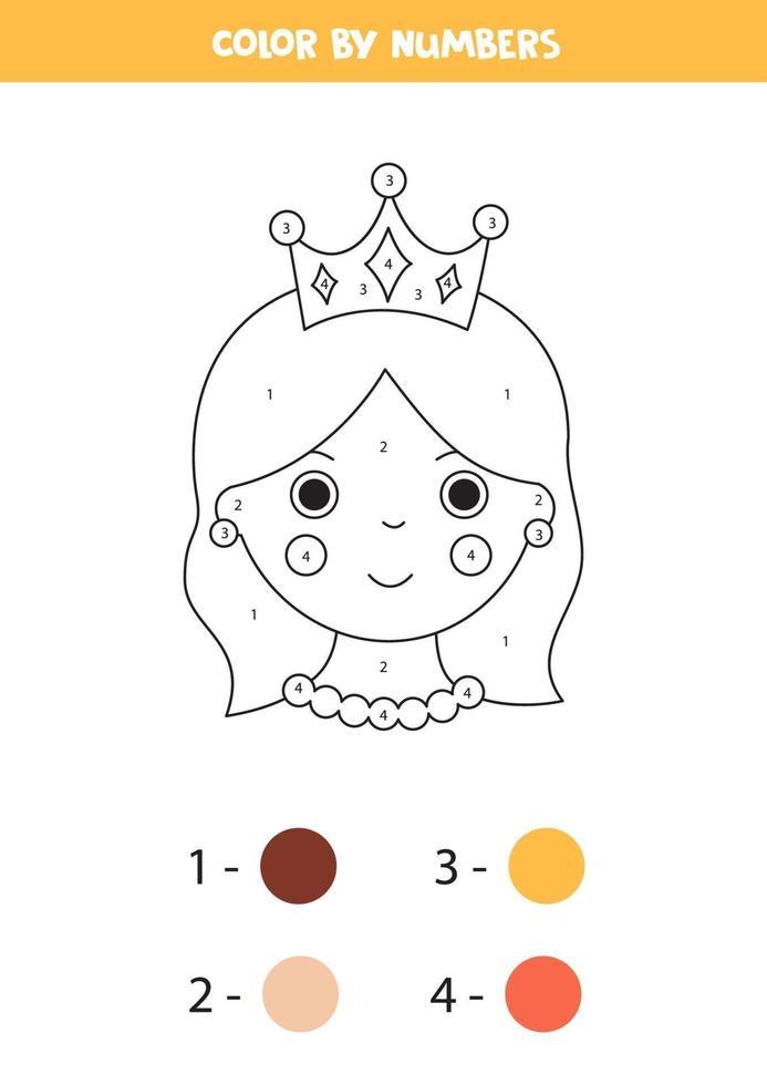 kleur schattige koningin op nummer. wiskunde spel. vector