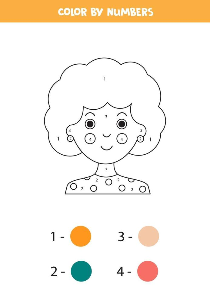 kleur schattig meisje avatar op nummer. wiskundig spel. vector